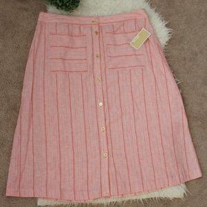 Michael Kors coral peach stripes skirt XL NWT
